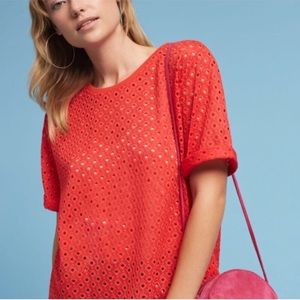 ANTHROPOLOGIE | Chantal Lace Top, Red